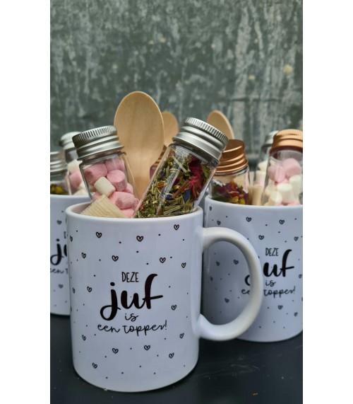 Juffen mok (met vrouwenpower, mini marshmallows, filters en lepel