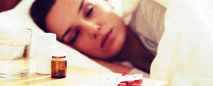 Met een griepje op bed
